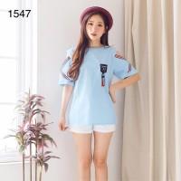 Blus Katun Korea # Denada Top # 1547 - Biru Muda