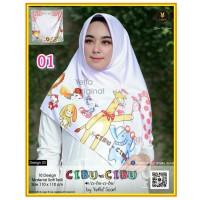 Termurah! Jilbab Segiempat Motif Kartun Cibu-cibu Yeffa 01 Hijab Motif
