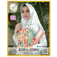 Termurah! Jilbab Segiempat Motif Kartun Cibu-cibu Yeffa 02 Hijab Motif