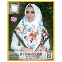 Termurah! Jilbab Segiempat Motif Kartun Cibu-cibu Yeffa 09 Hijab Motif