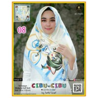 Termurah! Jilbab Segiempat Motif Kartun Cibu-cibu Yeffa 08 Hijab Motif