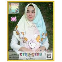 Termurah! Jilbab Segiempat Motif Kartun Cibu-cibu Yeffa 06 Hijab Motif