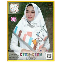 Termurah! Jilbab Segiempat Motif Kartun Cibu-cibu Yeffa 05 Hijab Motif