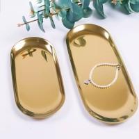 Gold jewelry tray / oval plate ala Scandinavian Nordic