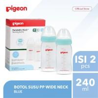 PIGEON Botol Susu PP Wide Neck 240Ml Isi 2 Pcs - Blue