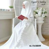 AB - Syari gamis putih sally matt Saten velvet/Gamis Muslim Wanita