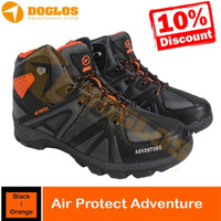 SEPATU GUNUNG AIR PROTEC ADVENTURE BLACK ORANGE SHOES HIKING OUTDOOR