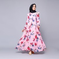 GAMIS MAXMARA Cantik Dress Maxi Baju Muslim Wanita Gamis Bunga Bunga