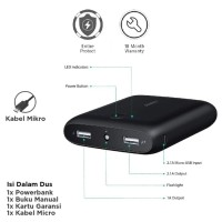 SSJ Aukey PB-N42 Pocket 10000mAh Power Bank - Hitam
