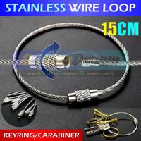 Stainless Wire Loop Keyring Carabiner Cable Gantungan Pengikat Kunci