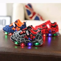 Sepatu Led Anak Import sz 21-30 Model Spiderman Fashion