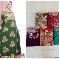 longdress umbrella, dress jumbo gamis busui bahan rayon sogan batik