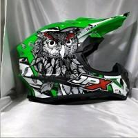 Helm Cross Jpx Motif burung hantu warna green