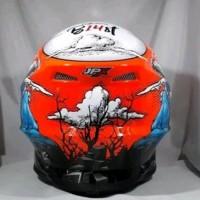 Helm cross jpx Motif fullmon Warna merah