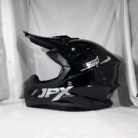 Helm cross JPX fox 1warna glossy Black