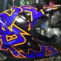 Helm cross Jpx motif Grafitty warna Doof hitam biru