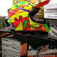 Helm cross jpx motif Rossi FOX 1 Warna Kuning kilat
