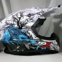 Helm cross jpx Motif Fullmon warna Putih