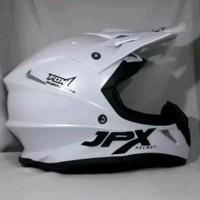 Helm cross JPX Motif Fox 1 warna putih metalik