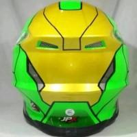 Helm cross jpx Motif robot civil war warna hijau kilat