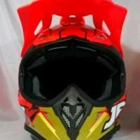 Helm cross JPX Motif Robot warna merah metalik
