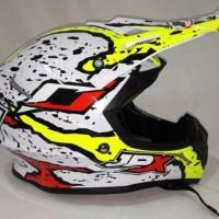 Helm cross Jpx Helm Full face X2 Flag Pearl white