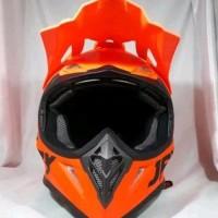 Helm cross JPX Motif burung Warna Merah metalik