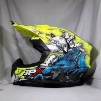 Helm cross jpx Motif fullmon warna Kuning kilat