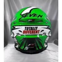 Helm cross jpx Motif X13 warna Glossy Green