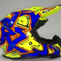 Helm Cross Jpx Helm Full face X3 Grafitty Glossy Yellow