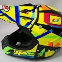 Helm cross jpx Motif X4 Rossi super black Warna Kuning kilat