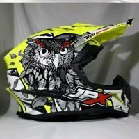 helm cross JPX motif burung hantu warna kuning