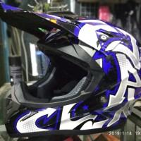 Helm cross Jpx motif grafitty warna Putih hitam