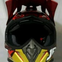 helm cross jpx motif Robot civil war warna Merah kilat