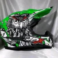 Helm cross jpx Motif burung hantu Warna hijau kilat