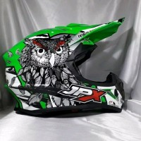 Helm cross JPX Helm Full face X13 Sevenday Glossy Green