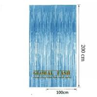 backdrop foil biru muda / tirai rumbai / foil fringe curtain foil