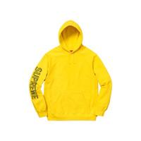 Supreme Sleeve Embroidery Hoodie Yellow 100% Original