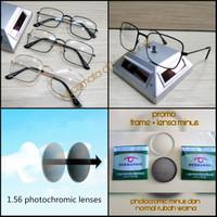 kacamata frame kotak besi + lensa fotocromic minus dan normal