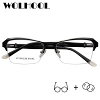 Alloy Cat Eye Semi-rimless Myopia Man Glasses Retro Men's Prescrip
