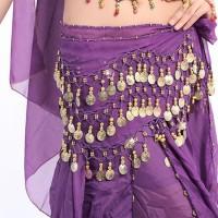 Sexy Women 3 Rows Belly Dance Hip Scarf Wrap Belt Belly Dancer Skirt C