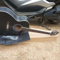 gitar cort akustik elektrik hitam dof