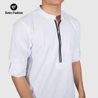 Kurta Zipper Putih/ Kurta Pakistan / Gamis Pakistan/ Baju Koko Putih