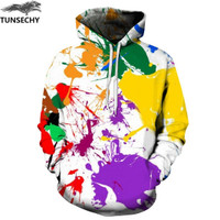 Jaket Jacket Switer Sweater Hoodie 3D Cat Tumpah Art Rainbow Fullprint