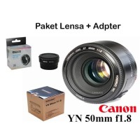 Paket Lensa Yongnuo 50mm Plus Adpater Meike For Canon eos M