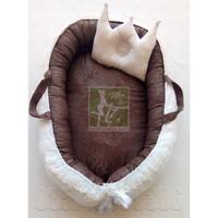 Babynest kasur bayi nest renda embos coklat kado lahiran murah terbaik