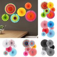 New 6 Pcs/Set Fiesta Paper Fans Pinwheel Wedding Party Wall