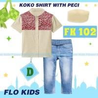 Baju Koko Anak Import Setelan Koko Flo Kids K Set Jeans Kemeja Peci