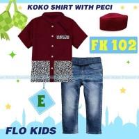 Setelan Koko Flo Kids Set Jeans Kemeja Plus Peci FK E Baju Koko Import