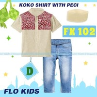 Setelan Koko Flo Kids D Teen Jeans Kemeja Plus Peci Koko Anak Impor